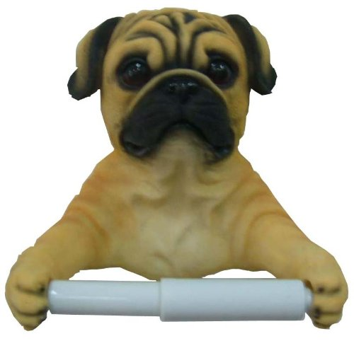 Pug Dog Bathroom Toilet Paper Holder Novelty