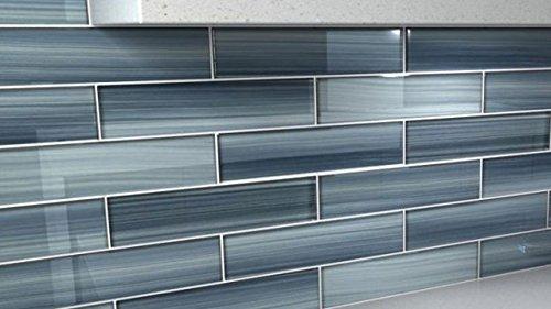 building supplies deep ocean blue 4x12 gentle grey glass tile perfect for kitchen backsplash or bathroom building materials