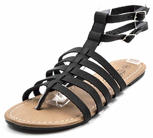 Charles Albert Women's New-13585 Ankle Strappy Gladiator Sandal Flat with Back Zip in Black Size: 9