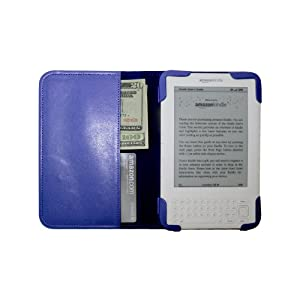 "Blue mCover® Leather Folio Cover Case for Amazon Kindle 3 (Fits 6"" Display, built-in inner pocket)"