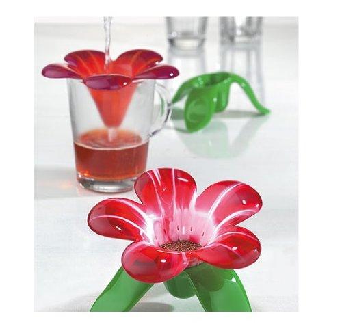 Koziol,Audrey 3231590 Red Transparent Tea Strainer Designed Like A Flower, 5,31X5,31X3,62-Inch