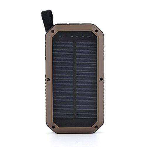 Sugela 8000mAh 3ポート モバイルバッテリー ソーラーチャージャー スマホ充電器 補助照明LEDライトiPhone / iPad /Xperia / Galaxy /Androidなど対応 携帯便利ポケモンGO用ビジネスの現場 アウトドア 登山 旅行 ハイキング 地震や災害による停電にも 黄