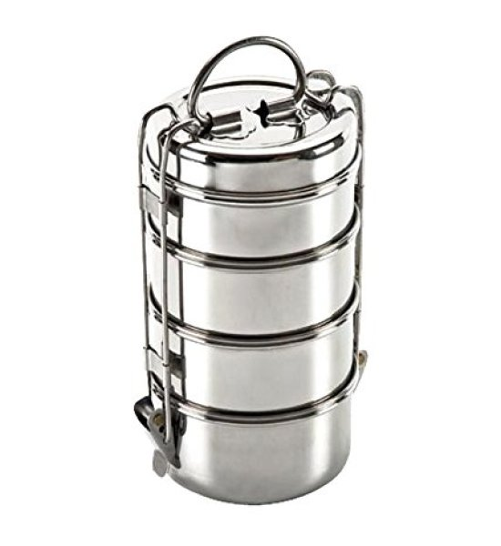 King International Stainless Steel Vintage Wire tiffin box, Traditional Indian lunch box, Indian Tiffin, Food storage container 10 cm (4 Tier)