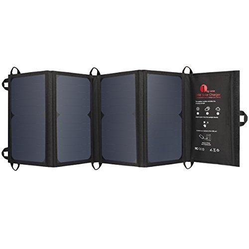 1byone (24W)ソーラーチャージャー折り畳み式ソーラーパネル USBデバイス対応 iPone/iPad/iPods/Samsung/Android/スマ―トフオン/タブレット、 ブラック