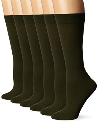 Differenttouch-6-Pairs-Pack-Women-Opaque-Stretchy-Spandex-Knee-High-Trouser-Socks