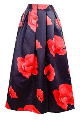 Alaroo-Floral-Printed-Red-Poppy-Flower-Elastic-Waist-Black-Maxi-Skirt