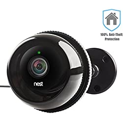 Nest Cam Case / Outdoor Nest Camera / Dropcam Pro Camera Cases w/ Gooseneck Wall Mount in Black by Dropcases - 100% Night Vision & Built-In Heat Sinks - IP 66 - Anti-Theft Protection