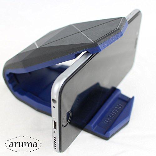 arumaアルマ) スマートフォンホルダー 車載 車用品 カー用品 便利グッズ クリップ式 挟むだけでしっかり ホールド ダッシュボード 接着 タイプ 両面テープ 付属 スマホスタンド デザイン スタイリッシュ シンプル オシャレ iPhone 6 6s Plus Galaxy Xperia ナビ GPS 地図 ブルー