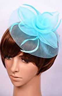 AM CLOTHES Womens Elegant Flower Feather on Hair Clip Fascinator (Light Blue)