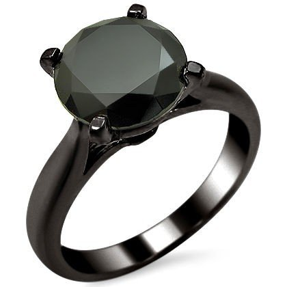 1.50ct Black Round Diamond Solitaire Engagement Ring 14k Black Gold