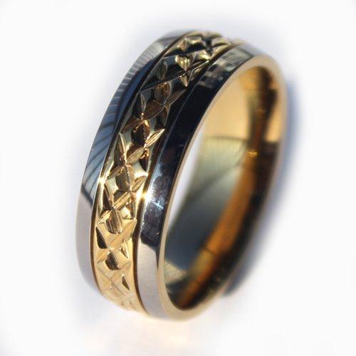 7mm Titanium Middle Gold Facet Mens Wedding Rings Mens