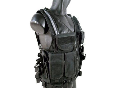 MetalTac Airsoft Cross Draw Tactical Vest with 9 Pockets and