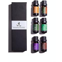 Aromatherapy & Massage Essential Oils Kit Holistic Healing with Pure 100% Therapeutic Grade Frankincense, Lavender, Peppermint, Cinnamon, Eucalyptus & Tea Tree Oil 6 10ml Bottles