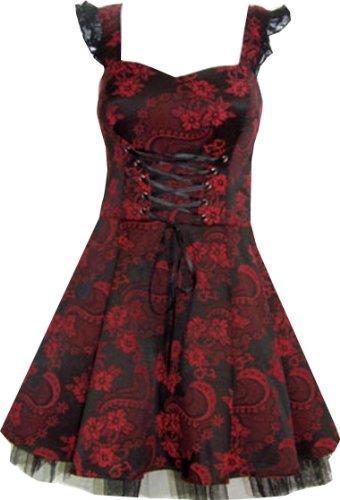 Pretty Kittty Fashion Schwarz Rot Weinlese mit Blumen Abendgesellschaft Hochzeit Mini Kleid