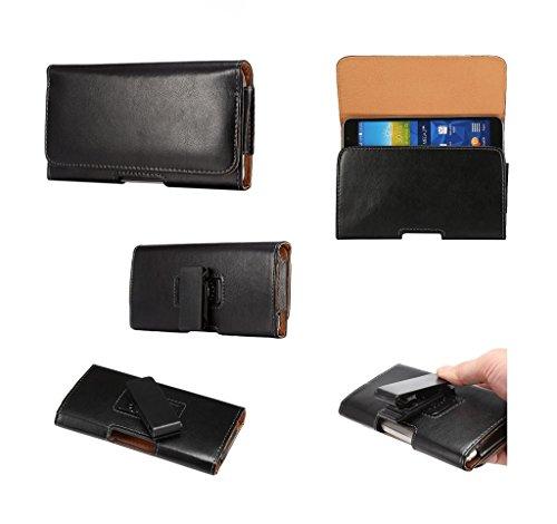 DFV mobile - エグゼクティブホルスターは、磁気レザーケースベルトのために360°回転クリップ = Prestigio MultiPhone 8500 DUO  黒