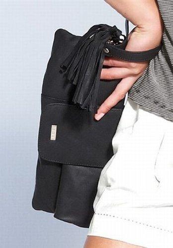 APART Weiches Leder! Clutch Handtasche in schwarz