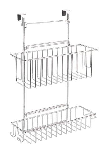WENKO 8181100 Küchenschrank Einhängregal – mit 2 Ablagen  , verchromtes Metall, 32 x 47 x 12.5 cm, Chrom