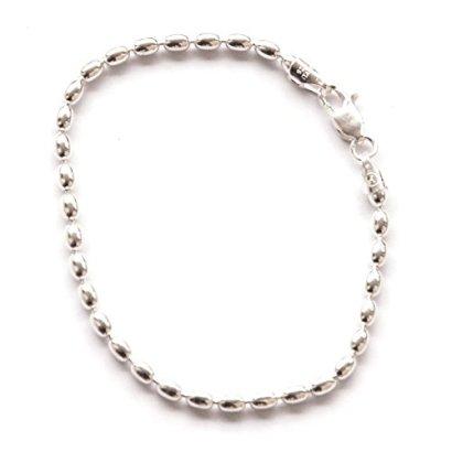 7-inch-St-Silver-Famous-Charleston-400g-Rice-Bead-Link-Bracelet-For-Women-Sturdy-Bracelet-4x5-mm-Beads