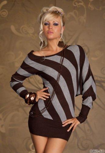 Sexy Asymmetrisches Strick Kleid Minikleid in Einheitsgröße Gr. 34 36 38 in Dunkelbraun Grau gestreift, Super Damen Outfit