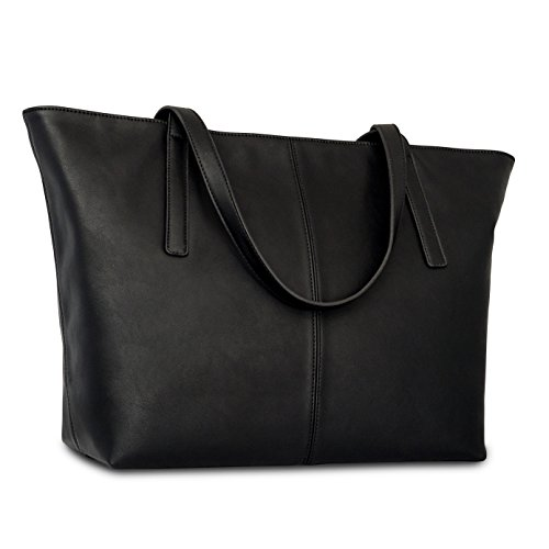 Expatrié Vegan Leather Women's Handbag Shopper Tote Black PU Leather Handbags For Women - Large Elegant Ladies Shoulder Bag With Functional Compartments & Zipper Closure