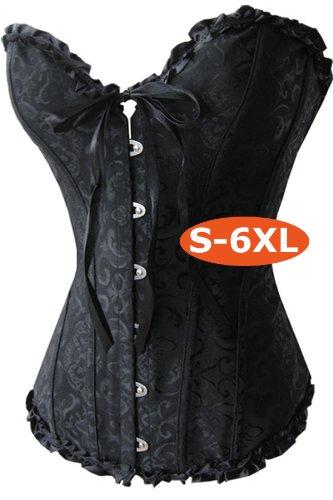 A819_schwarz - Korsett Corsage Satin-Korsett Gothic schwarz,Grösse S