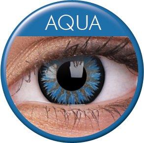 Farbige Kontaktlinsen mit Stärke 3 Monatslinsen & Color Contact lenses Blau Hellblau Aqua 1 Paar