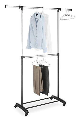Whitmor Double Rod Adjustable Garment Rack, Black & Chrome
