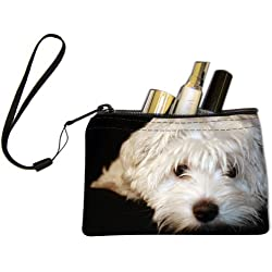 Rikki Knight Maltese Puppy Design Keys Coins Cards Cosmetic Mini Clutch Wristlet