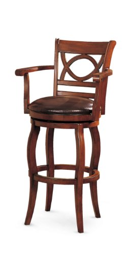 Poundex F4126 Swivel Bar Chair with Arms, Brown