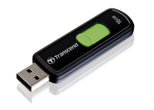 Transcend 16 GB JetFlash 500 Retractable USB 2.0  Flash Drive - TS16GJF500 (Black)