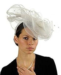 NYFASHION101 Wavy Contour Layered Sinamay Mesh Net Fascinator Headband - White