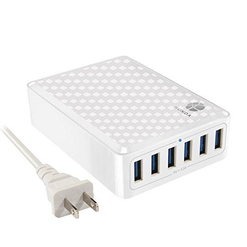 HUNDA 60W 6ポート USB急速充電器 acアダプター インテリジェント チャージャー iPhone/Android全世代 スマホ/タブレット対応 ホワイト