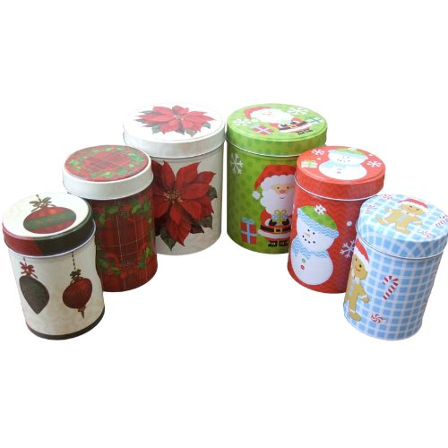 12 ct. Christmas Empty Tin Canisters - Assorted