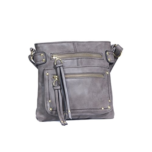 Grey Distressed Faux Leather Three Zippered Crossbody Bag- Studded Grommet Purse