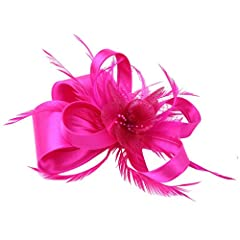 Women wedding races Hot Pink fascinator Hair Clip feather handmade with bowknots