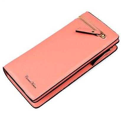 Gottowin-RFID-Wallet-for-Women-Leather-Clutch-Handbag-Card-Holder-Salmon-Pink