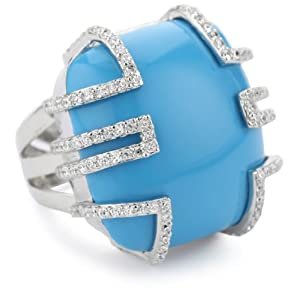 "Nicky Hilton ""Bryant Park"" Turquoise Color Stone Cubic Zirconia Ring"