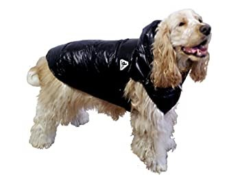 犬 用 防寒 ウェア ディクロス リバーシブル フード ダウン ベスト (4, ブラック×カーキ)