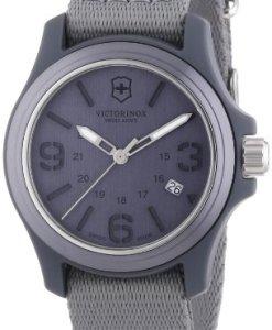 Victorinox Swiss Army - Reloj analógico de cuarzo para hombre con correa de tela, color gris