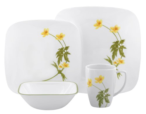 Corelle Square Vitrelle 16-Piece Dinnerware Set, Service for 4, Buttercup