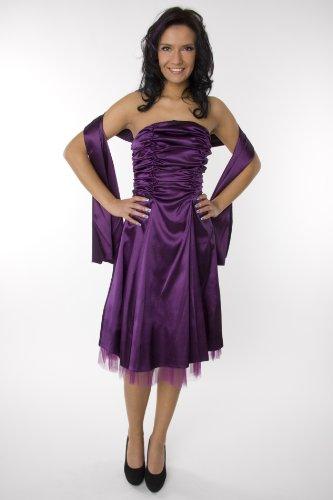 Modell 2026 Abendkleid knielang, schulterfrei, lila Größe 34
