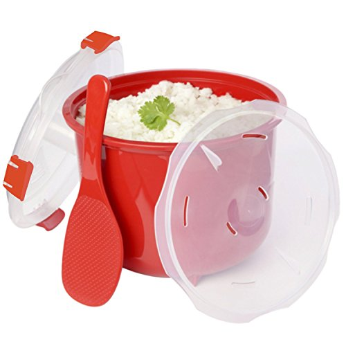 Addie's Kitchen Microwave Rice Cooker With Accessories 1 Rice Spoon - 1 Lid W/ Steam Release Vents & Easy Lift Handles - Eliminate Replacement Parts With Our Rice Cookers