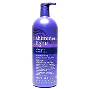 clairol professional shimmer lights original conditioning shampoo for gray white highlighted
