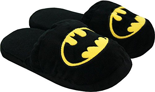 Batman Super Hero Cartoon Plush Slipper Mens DC Comics Warner Bro Black
