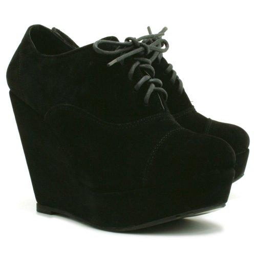 Keil Platform Suede Stil Stiefel, Damen, Schwarz, Größe 39