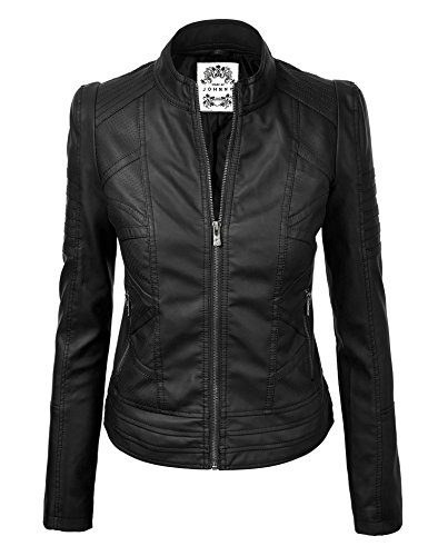 MBJ WJC746 Womens Vegan Leather Motorcycle Jacket M BLACK