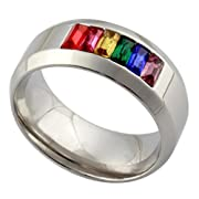 8mm Rainbow Gay Lesbian Pride Wedding Stainless Steel Band LGBT Square Crystal Ring