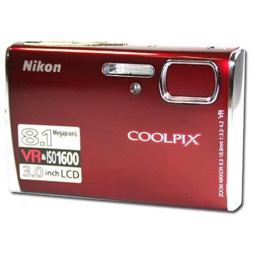 Nikon Coolpix S51 8.1MP Digital Camera with 3x Optical Vibration Reduction Zoom (Red)