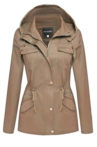 ACEVOG Womens Winter Military Anorak Hoodie Coat Jacket Outerwear Overcoat (L, Khaki(FBA))