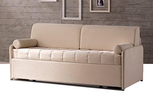 Sofa Armlehne bis mit Netz nach Bett ausziehbar mit orthopädischen Matratzen, cuscinatura und Rollen. Stoff wählbar abnehmbar